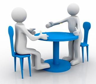 Two 3-d figures meet at table. One sits in a chair. The other is standing and extending their hand for a handshake. Image courtesy of cooldesign on FreeDigitalPhotos.net.